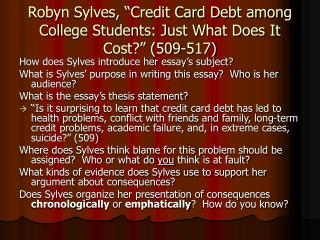 "Robyn Sylves, ""Credit Card Debt among College Students: Just What Does It Cost?"" (509-517)"