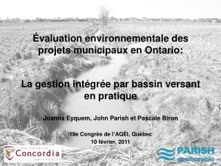 Évaluation environnementale des projets municipaux en Ontario:
