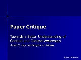 Paper Critique