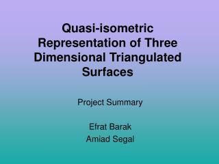 Quasi-isometric Representation of Three Dimensional Triangulated Surfaces