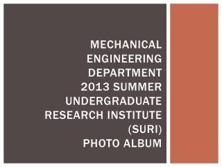 Mechanical Engineering Department 2013 Summer Undergraduate Research Institute (SURI)  Photo Album