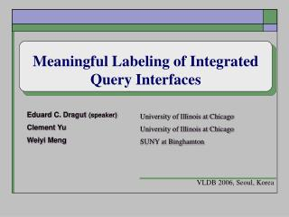 Meaningful Labeling of Integrated Query Interfaces