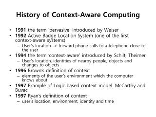 History of Context-Aware Computing