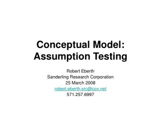 Conceptual Model: Assumption Testing