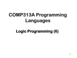 COMP313A Programming Languages