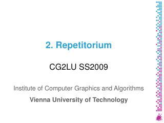 2. Repetitorium