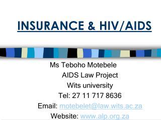 INSURANCE & HIV/AIDS