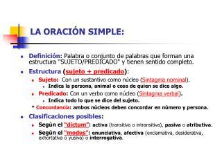 LA ORACIÓN SIMPLE: