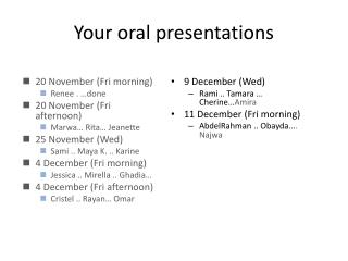 Your oral presentations