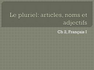Le  pluriel : articles,  noms  et  adjectifs