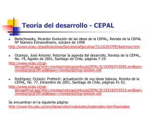 Teoría del desarrollo - CEPAL