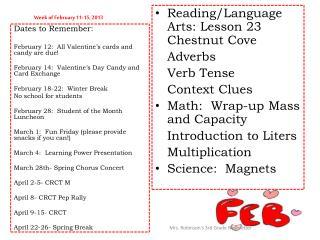 Week of February 11-15, 2013
