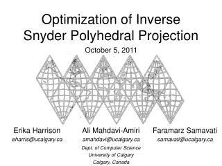 Optimization of Inverse Snyder Polyhedral Projection