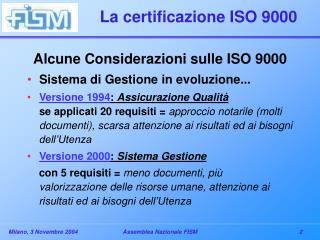 La certificazione ISO 9000