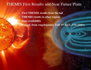 First THEMIS results from the tail THEMIS results in other regions Data availability