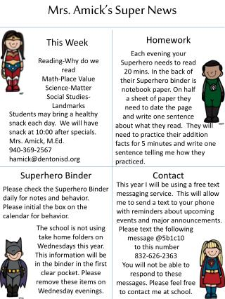 Mrs.  Amick's  Super News
