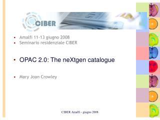 Amalfi 11-13 giugno 2008 Seminario residenziale CIBER OPAC 2.0: The neXtgen catalogue