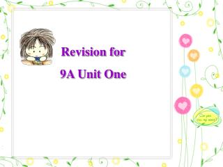 Revision for  9A Unit One