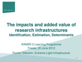 The impacts and added value of research infrastructures Identification, Estimation, Determinants