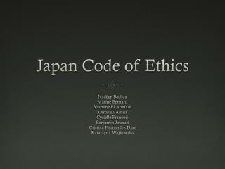 Japan Code of Ethics