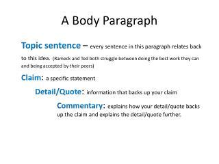 A Body Paragraph