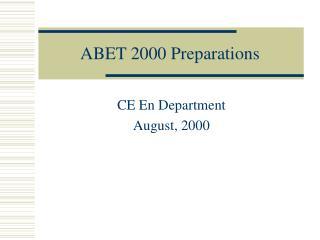 ABET 2000 Preparations