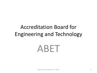 Accreditation Board for Engineering and Technology