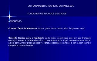OS FUNDAMENTOS T�CNICOS DO HANDEBOL