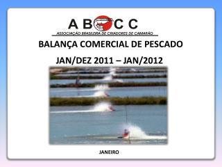 BALANÇA COMERCIAL DE PESCADO JAN/DEZ 2011 – JAN/2012