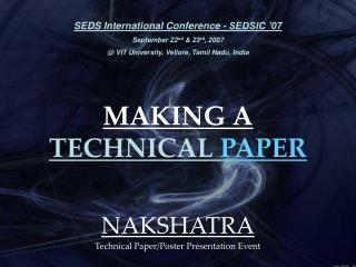 MAKING A  TECHNICAL PAPER