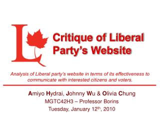 Critique of Liberal Party's Website