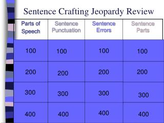 Sentence Crafting Jeopardy Review