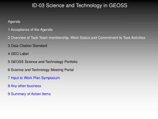 ID-03 Science and Technology in GEOSS