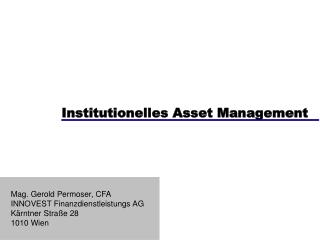 Institutionelles Asset Management