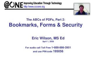 The ABCs of PDFs, Part 2: Bookmarks, Forms & Security