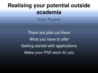 Realising your potential outside academia