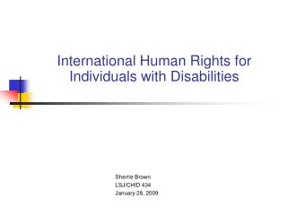International Human Rights for Individuals with Disabilities