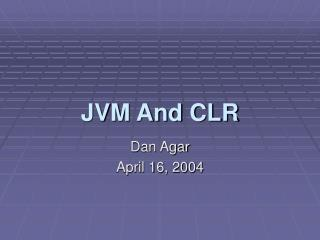JVM And CLR
