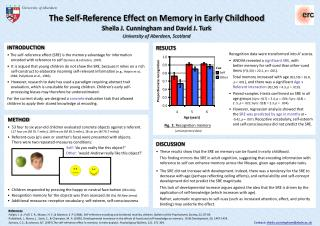 The Self-Reference Effect on Memory in Early Childhood Sheila J. Cunningham and David J. Turk