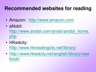 Recommended websites for reading