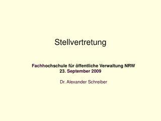 Stellvertretung  Fachh ochschule für öffentliche Verwaltung NRW