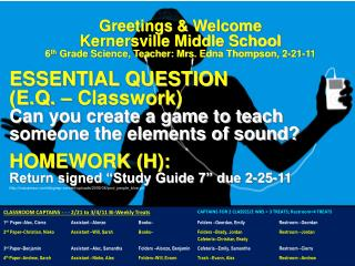 Greetings & Welcome Kernersville Middle School