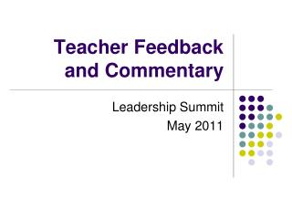 Teacher Feedback and Commentary