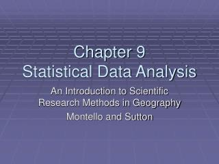 Chapter 9 Statistical Data Analysis