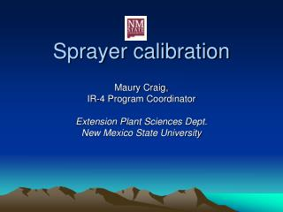 Sprayer calibration