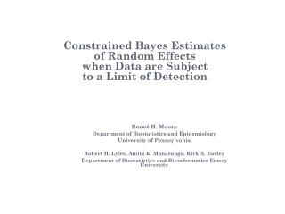 Constrained Bayes Estimates  of Random Effects  when Data are Subject  to a Limit of Detection