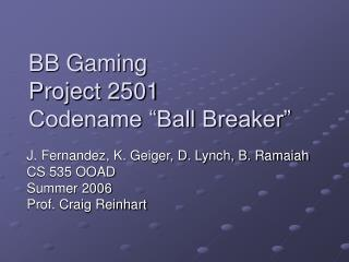 "BB Gaming  Project 2501 Codename ""Ball Breaker"""