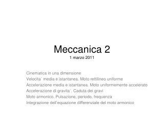 Meccanica 2 1 marzo 2011