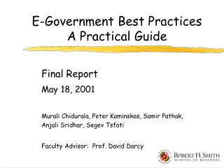 E-Government Best Practices  A Practical Guide
