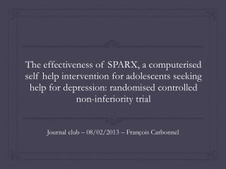 Journal club � 08/02/2013 � Fran�ois Carbonnel